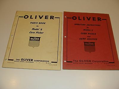 Oliver Vintage Operating Instructions & Parts Book for Model 5 Corn Picker lot