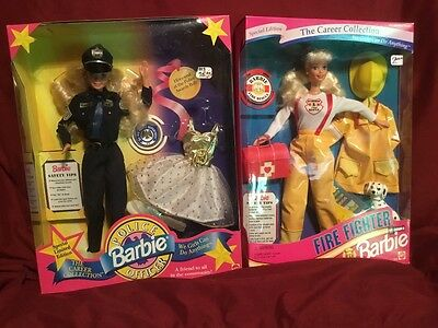 Lot of 2 Career Collection Barbie Police Officer 10688 & Fire Fighter 13553 NRFB