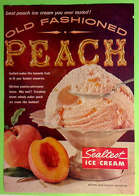 Original 1960's Sealtest Ice Cream Old Fashioned Peach Vintage Ad Advertisement