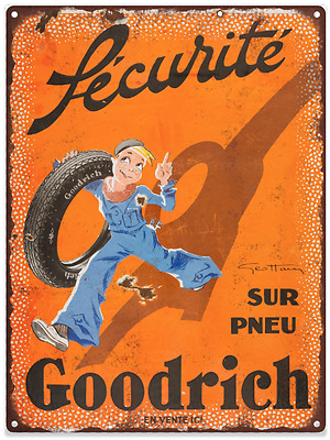 French Goodrich Tires Vintage Look Advertising Metal Sign 9 x 12 60094