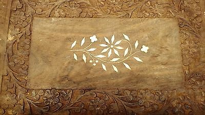 "Vintage Carved Flower & Inlaid Wooden Tray with Handles Used 18 1/2"" x 9  1/4"""