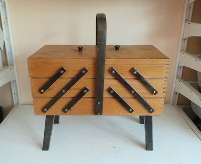 Vintage Large Wooden 3 Tier Sewing Box Basket Storage Stackable Container Craft