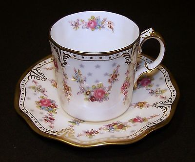 Royal Crown Derby ROYAL ANTOINETTE Coffee Can/Stand ( Demitasse Cup & Saucer) #2