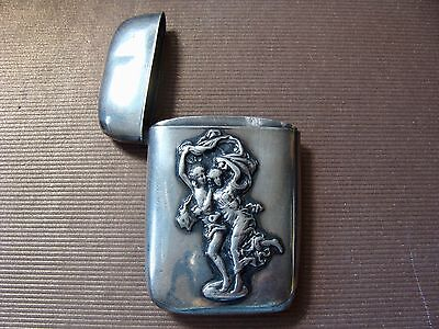 Antique Match Safe Marked Sterling Silver Victorian Muses