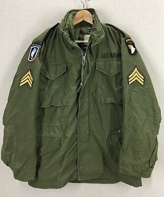RARE 1967 Alpha Industries M-65 Field Jacket W/ Airborne Patches Small