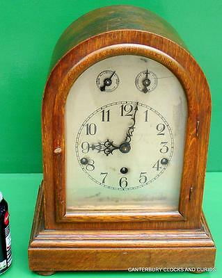 Antique German Oak Three Train 8 Day Westminster Chime Bracket Clock