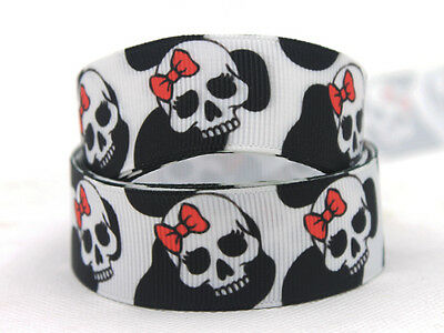 "25 yards Spool Gothic Skull Halloween Grosgrain 7//8/"" Ribbon//Craft R65-78-Roll"