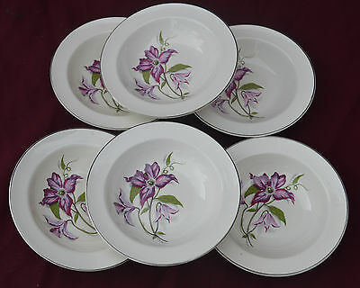 Palissy Clematis  RIMMED BOWLS X 6