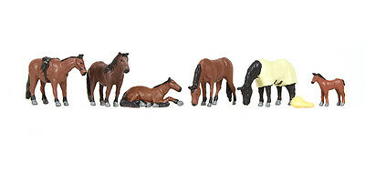 Pack of Horses (x6) - Bachmann 36-080 - OO painted figures - free post P3