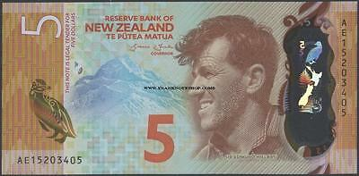 New Zealand,5 Dollars,2015 ,Uncirculated,Polymer@ EBS