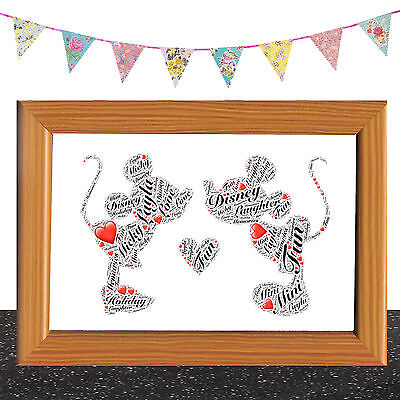 Personalised Mickey mouse and Minnie Disney Word Art Birthday Keepsake Any Names