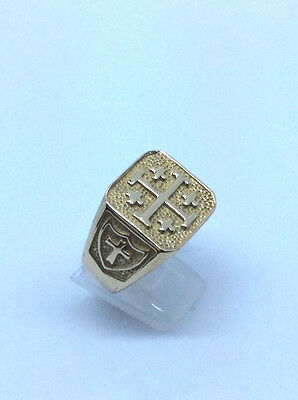 Large Mens Ring-Solid 9Ct Gold- Templar Ring -Size W1/2 Heavy 20 Gms-Hallmarked