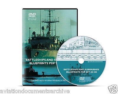 Battleships and Submarines Blueprints in CD/DVD- Free Shipping