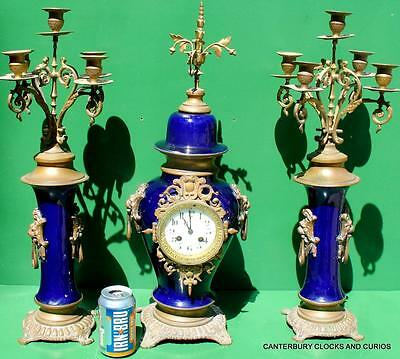 Japy Freres Antique French 8 Day Blue Porcelain Candelarbras Garniture Clock Set