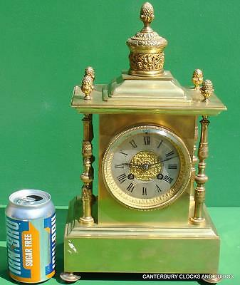Japy Freres Antique French Empire Ormolu 8 Day Two Train Mantle Clock
