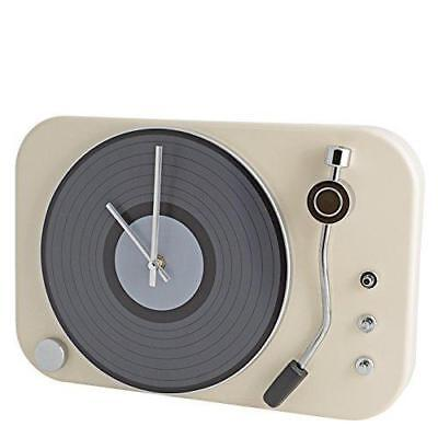 Contemporay Clocks Retro Classic Record Player Turntable Style Wall Clock Cream