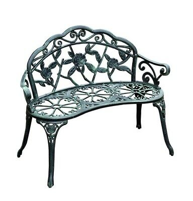 Outdoor Cast Iron 40' Solid Antique Rose Style Patio Garden Yard Bench