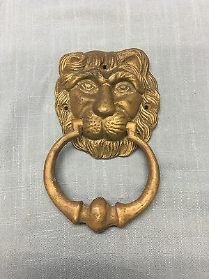 Early Solid Brass Rustic Door Knocker Figural Lion Head Sculpture