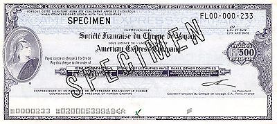 France / American Express Traveller's Cheque 500 Francs  Uncirculated Banknote