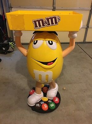 M&M Yellow Peanut Character Figure Store Advertising Display With Tray Man Cave!