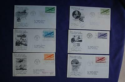 Twin-Motored Transport Plane AM Stamps 6 FDCs Artcraft Cachets Sc#C26-C31 08126