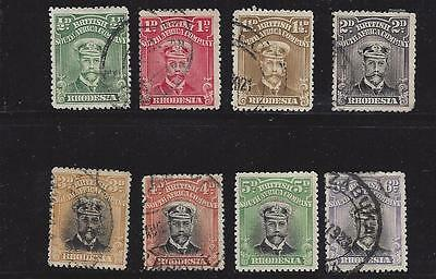 1913-23  Rhodesia (British South Africa)     Sc#119-127 Mostly  Used Partial Set