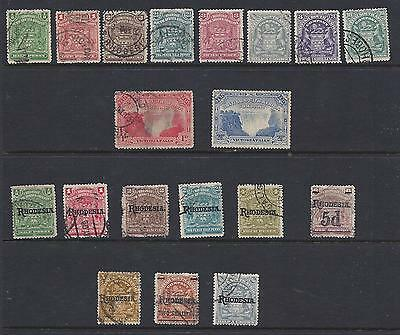 1898-1909  Rhodesia (British South Africa)     Sc#59-94 Mostly Used Short Sets