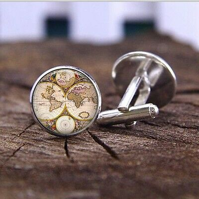 pair of vintage style world map cufflinks