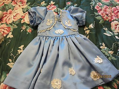 Hand Crafted Satin Dress For French German For 18-20 In Bru Jumeau Antique Doll