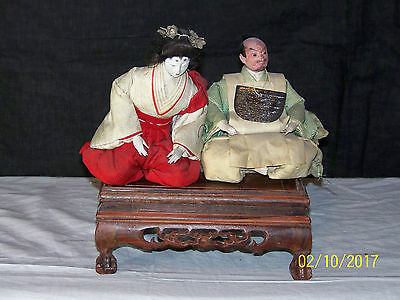 Antique Meiji Period Japanese Hand Made Silk Gofun Dolls