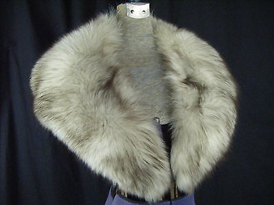 """Vintage Ivory FOX FUR wide collar with Satin lined & Brown Tips- 42.5"""" long"""