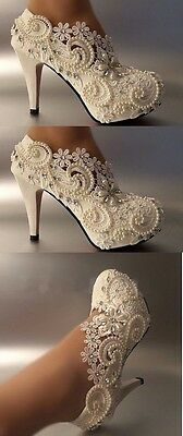 """3"""" heel white ivory lace crystal pearls Wedding shoes pumps bride size 6 1/2"""