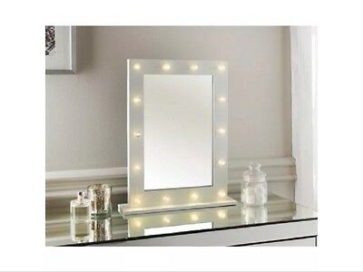 Modern Hollywood 14 LED Bulb Vanity Mirror Dressing Table Mirror White Frame New