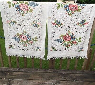 Lady Pepperell  frayed towel set, floral, cotton blend, multicolored 23X38