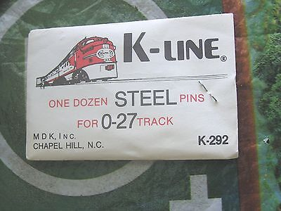K-Line Train Track  Steel Pins One Dozen For 0-27 Track ///  K-292 Nos