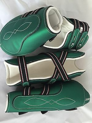 Forest Green With White Cow Softy Leather Lining Tendon & Fetlock boots (Pony)