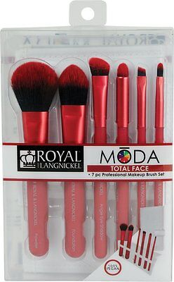 Moda Total Face Professional Makeup Brush Set with Case, Red