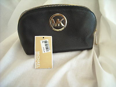 Michael Kors Black Fulton Leather Travel Pouch BNWT