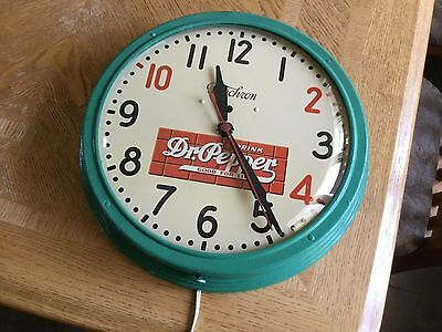 Dr Pepper Clock by Telechron 1940's not lighted Soda Cola
