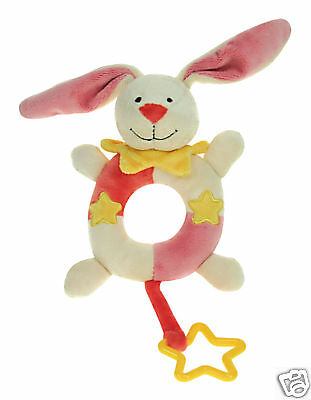 *NEW girl baby safe soft plush toy BUNNY RATTLE TEETHER