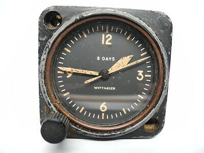 Vintage Wittnauer Aircraft Cockpit Clock 8 Day Swiss Working With Sweep Seconds
