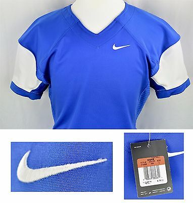 NWT Nike Adult Pro Combat Speed Football Jersey Sz L Blue White Style 473569