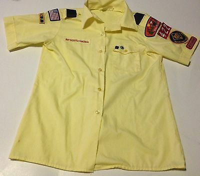 BSA Boy Scouts Of America Official Youth Uniform Short Sleeve Yellow Sz 10