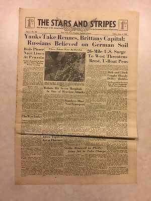 Stars and Stripes Aug 4 1944 26 Mile US Surge to West Threatens Brest, UBoat Pen