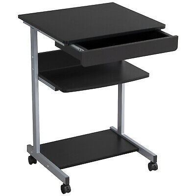 Black Wood Small Laptop Computer Cart Desk with Drawers Printer Shelf on Wheel