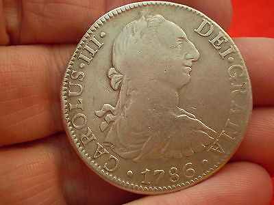 1786 Carolus 111 Silver Spanish 8 Reales Coin Historic Authentic Piece :)