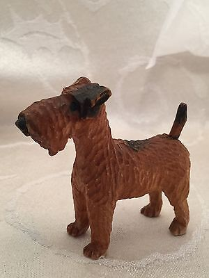 "Airedale Figurine Vintage Wood Carved Italy Italian  2 3/4"" Figure Dog Terrier"