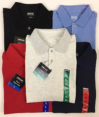 New Kirkland Signature Men's Short Sleeve Performance Pique Polo Shirt Variety