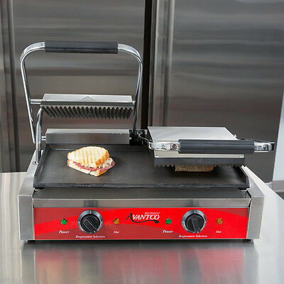 Avantco P88SG Double Grooved Top, Smooth Bottom Commercial Panini Sandwich Grill
