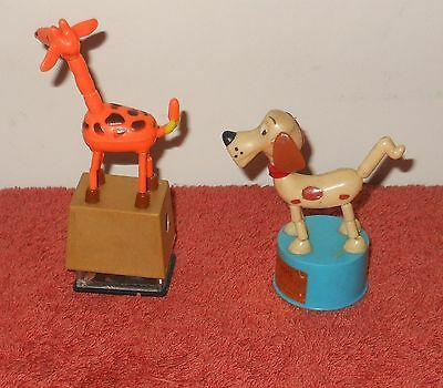 Vintage 1960's Hong Kong Push Up Collapsible Puppet Toys~ Dancer Dog & Giraffe